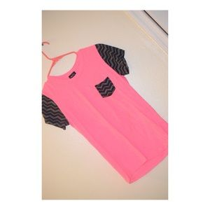 Pink and Black Chevron Pocket Shirt
